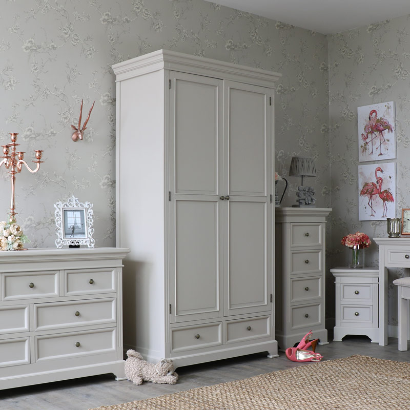 Large Grey Double Wardrobe - Daventry Taupe-Grey Range