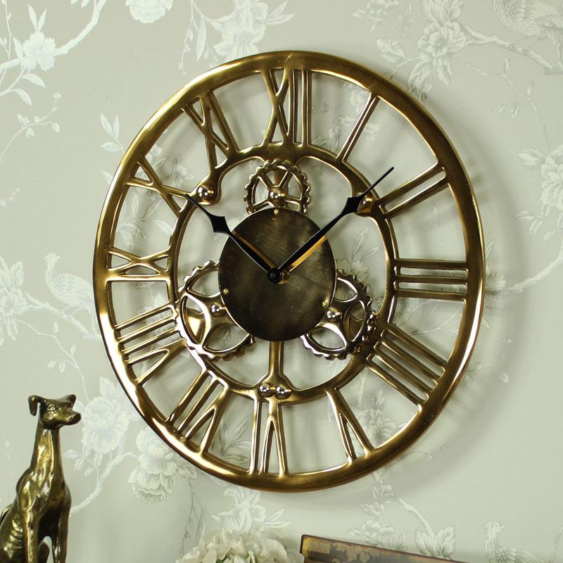 Antique Gold Metal Cog Skeleton Wall Clock