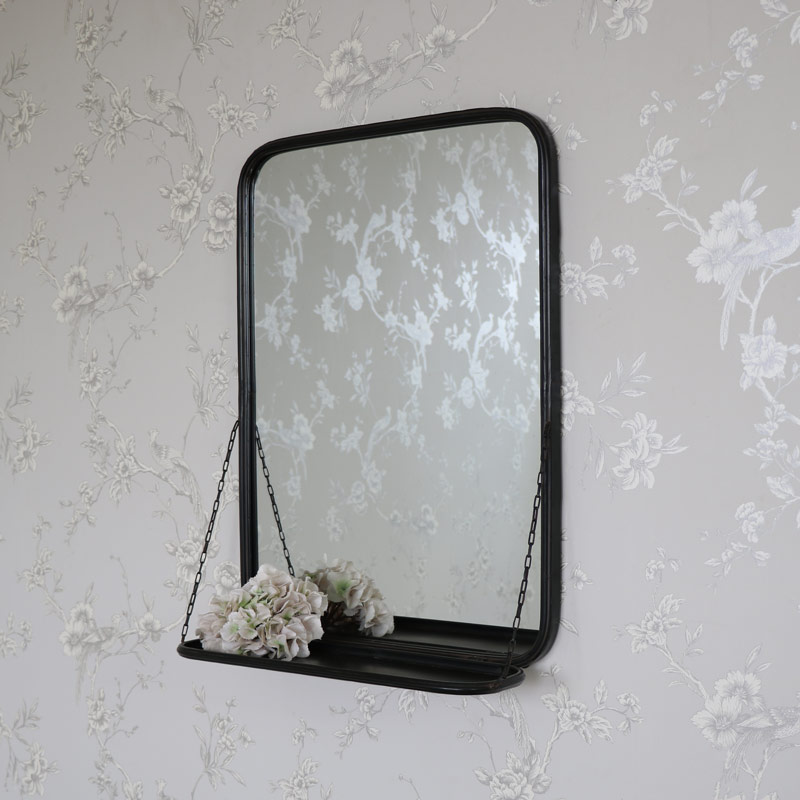 Black Metal Vanity Wall Mirror With Shelf
