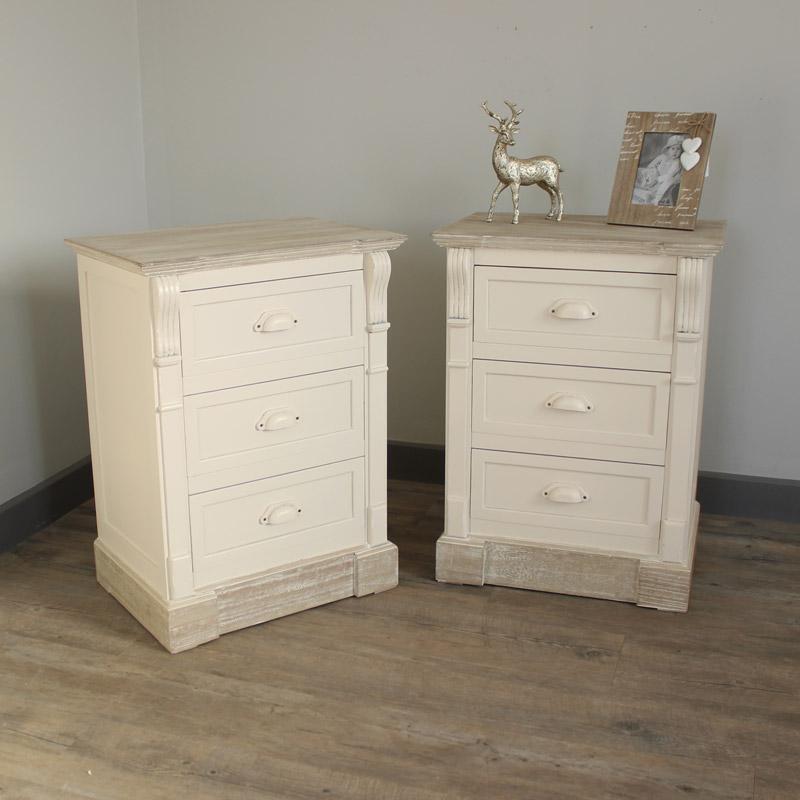 Lyon Range -Bedroom Set, Pair of Cream Three Drawer Bedside Table