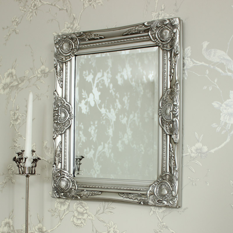 Ornate Silver Wall Mirror 52cm x 42cm
