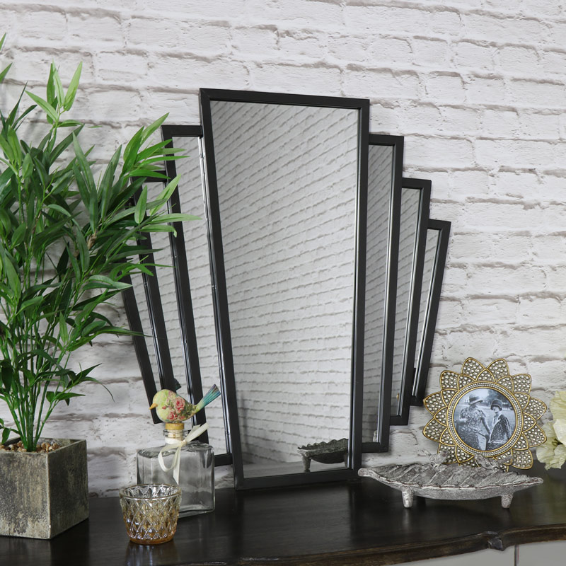 Black Art Deco Fan Style Wall Mirror Flora Furniture