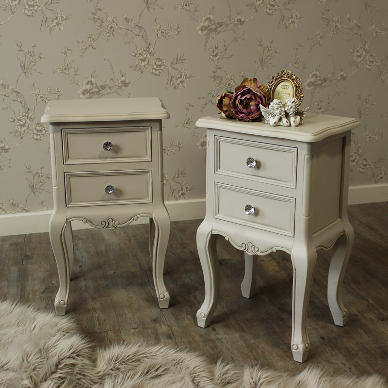Elise Grey Range - Bedroom Set, Pair of Grey Two Drawer Bedside Tables
