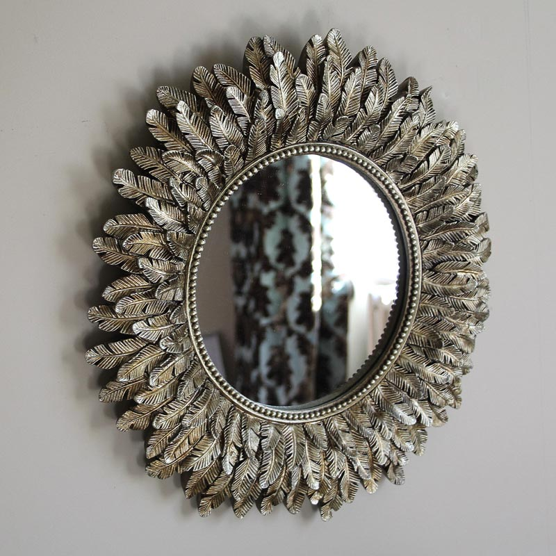 Antique Gold Feather Effect Wall Mirror