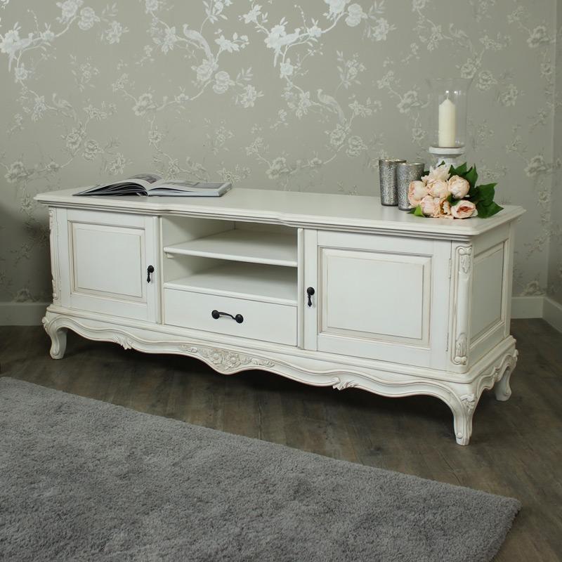 Large Ivory Ornate TV Cabinet - Louis XV Range