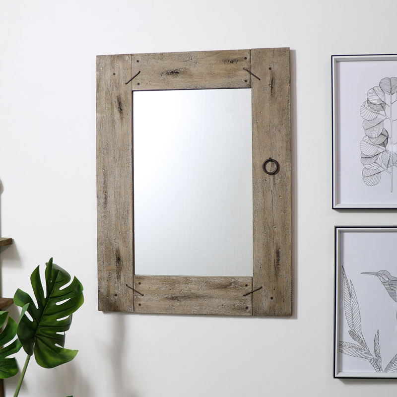 Large Rustic Wooden Framed Wall Mirror