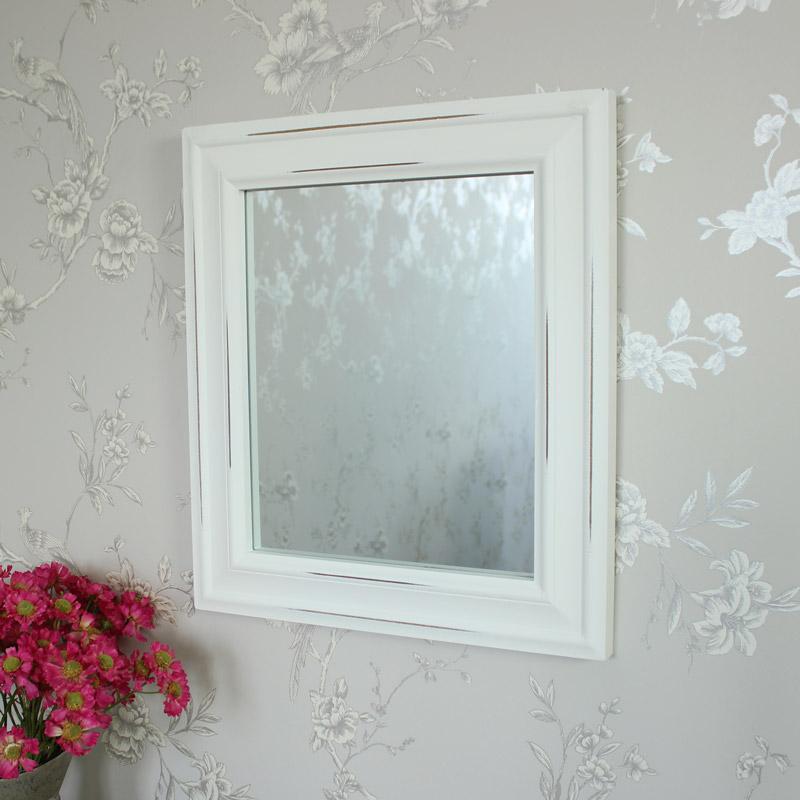 Vintage White Distressed Wall Mirror 49cm x 43cm