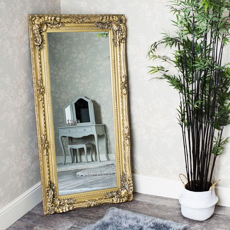 Large Ornate Gold Wall / Leaner Mirror 78cm x 58cm