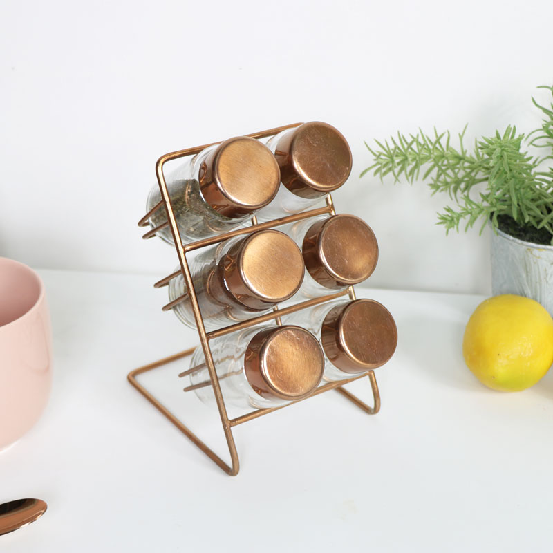 Copper Spice Rack with 6 Jars