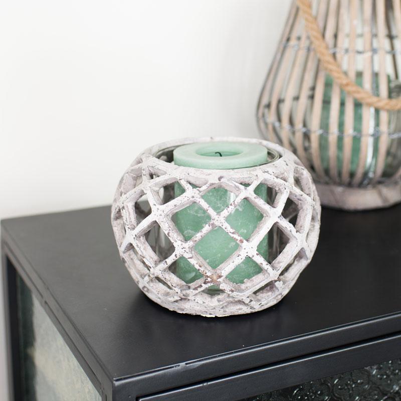 Round Grey Ceramic Candle Lantern