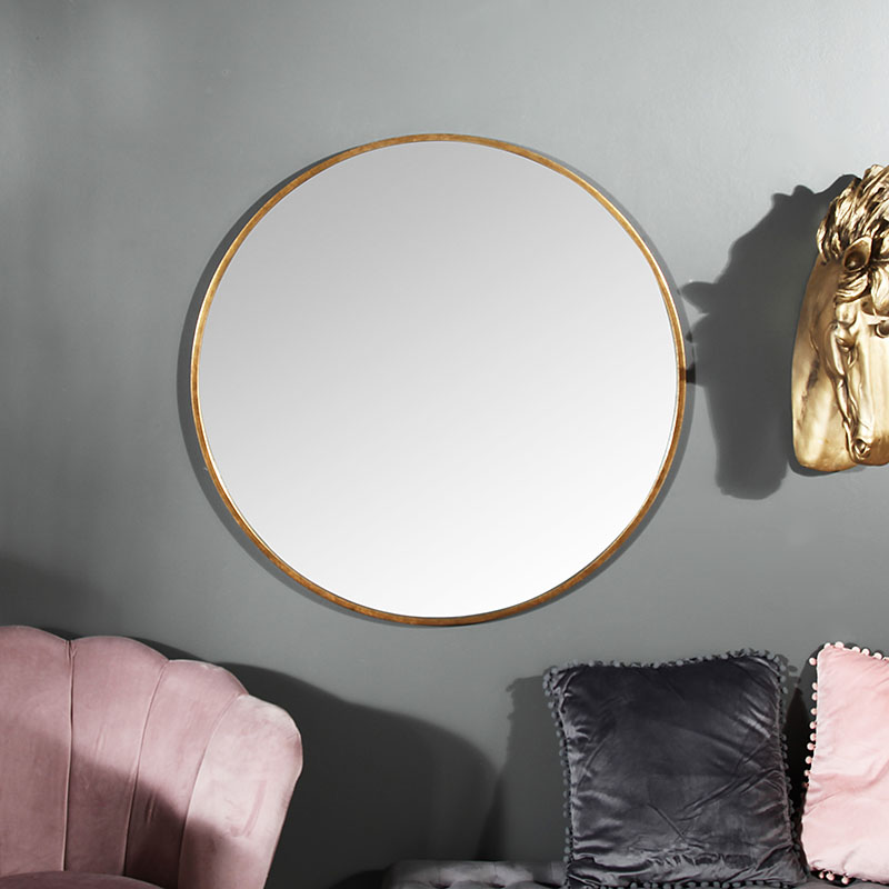 Large Round Gold Framed Wall Mirror, Simple Round Mirror