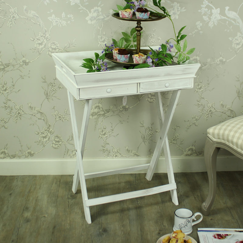 Large White Wooden Butler S Tray Flora Furniture
