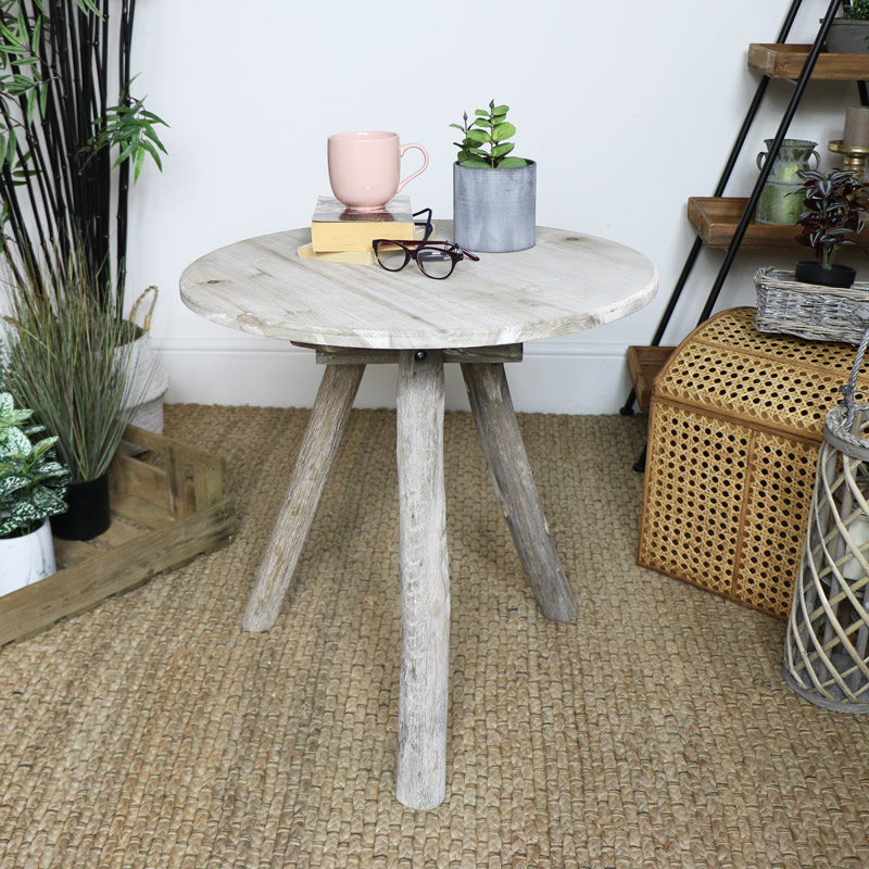 Rustic Wooden Tripod Side Table