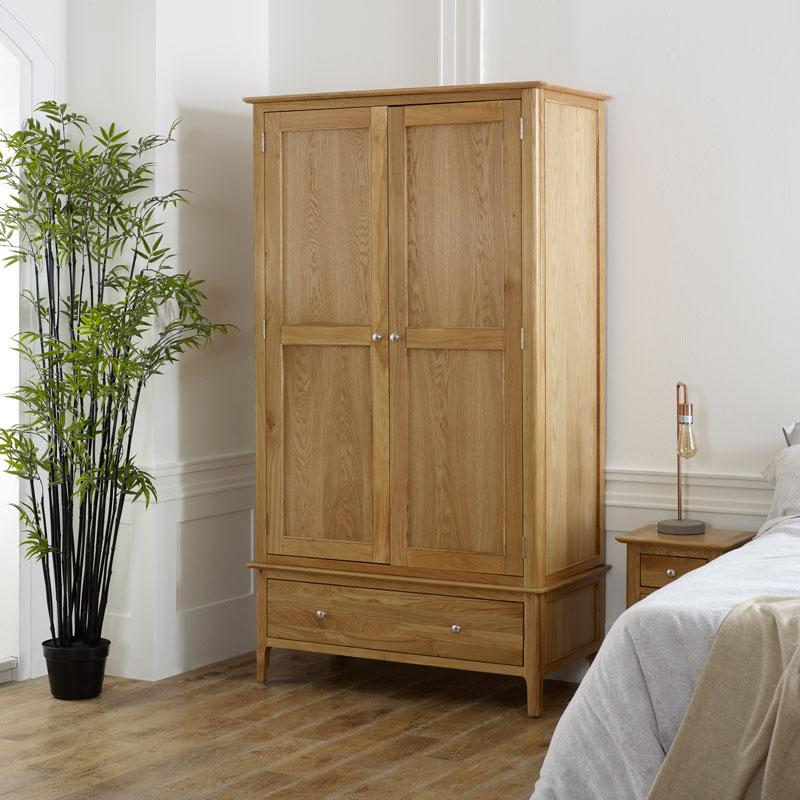 Large Oak Wood Double Wardrobe - Oakley Range