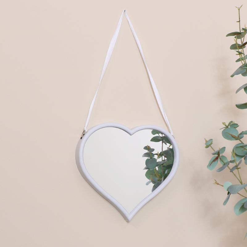 Small White Heart Mirror