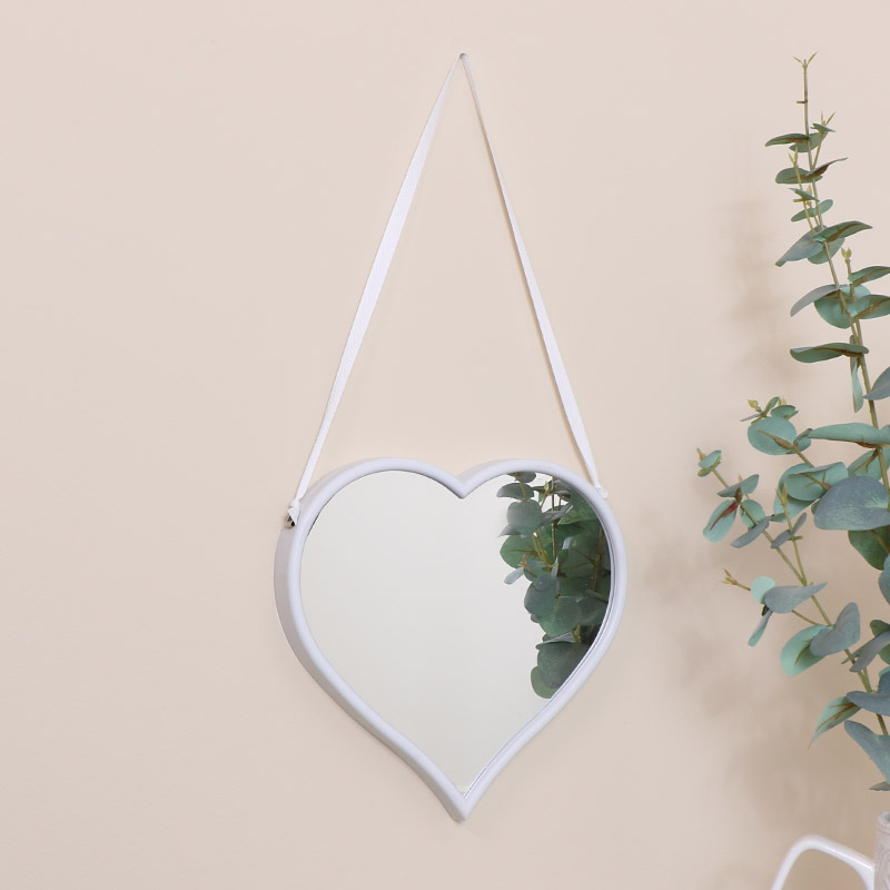 Medium White Heart Mirror