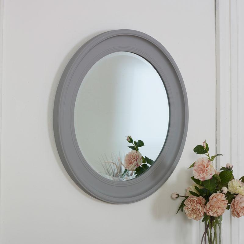 Large Round Vintage Grey Wall Mirror 80cm x 80cm
