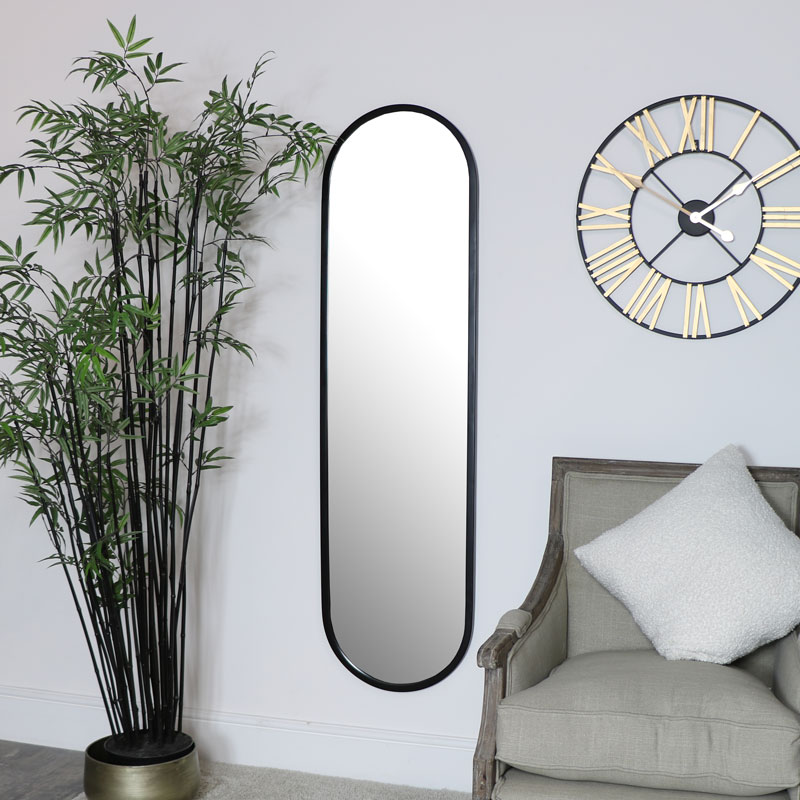 Large Black Oval Mirror 42cm x 156cm
