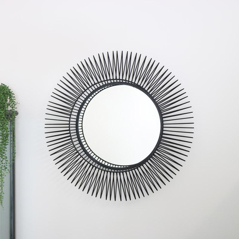 Round Black Wire Mirror 75cm x 75cm