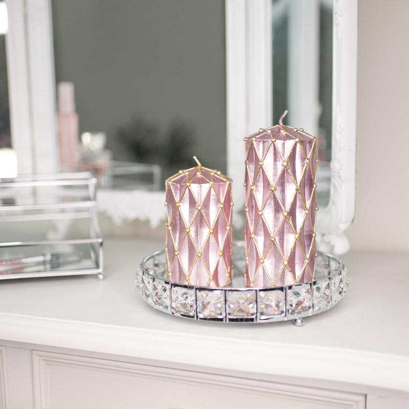Set of 2 Pink & Gold Metallic Candles