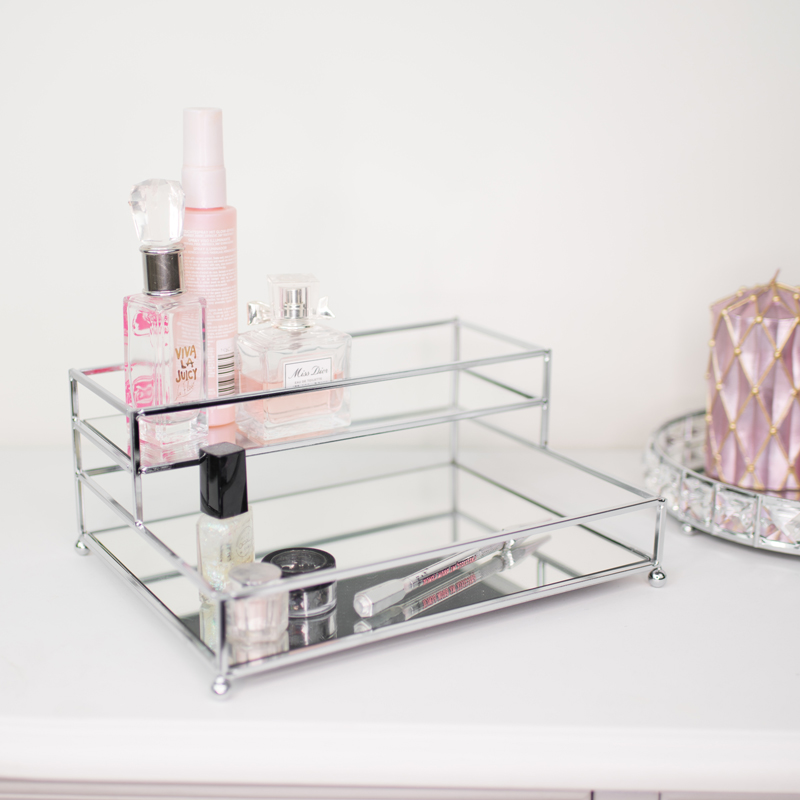 Silver Mirrored 2 Tier Storage Caddy