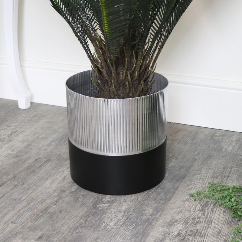 Large Black & Silver Metal Planter