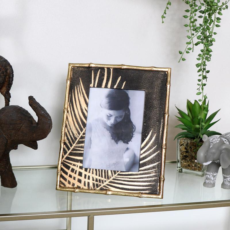 Black & Gold Palm Leaf Photo Frame
