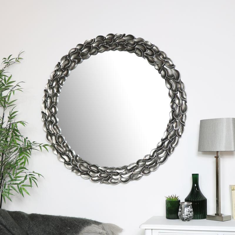 Large Round Silver Leaf Mirror 101cm x 101cm