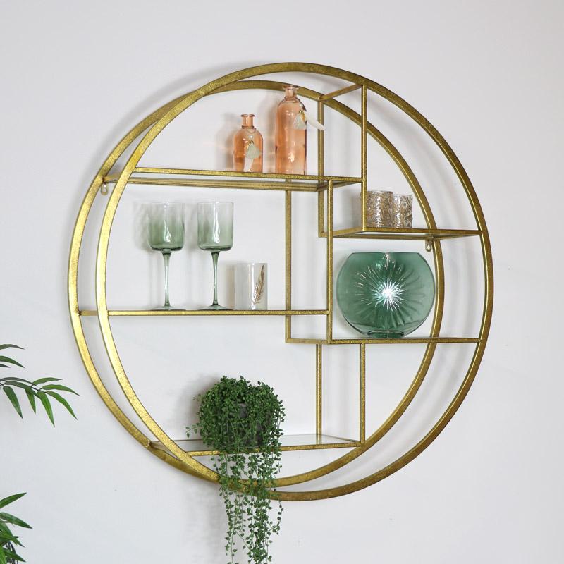 Large Round Gold & Glass Multi Shelf Unit