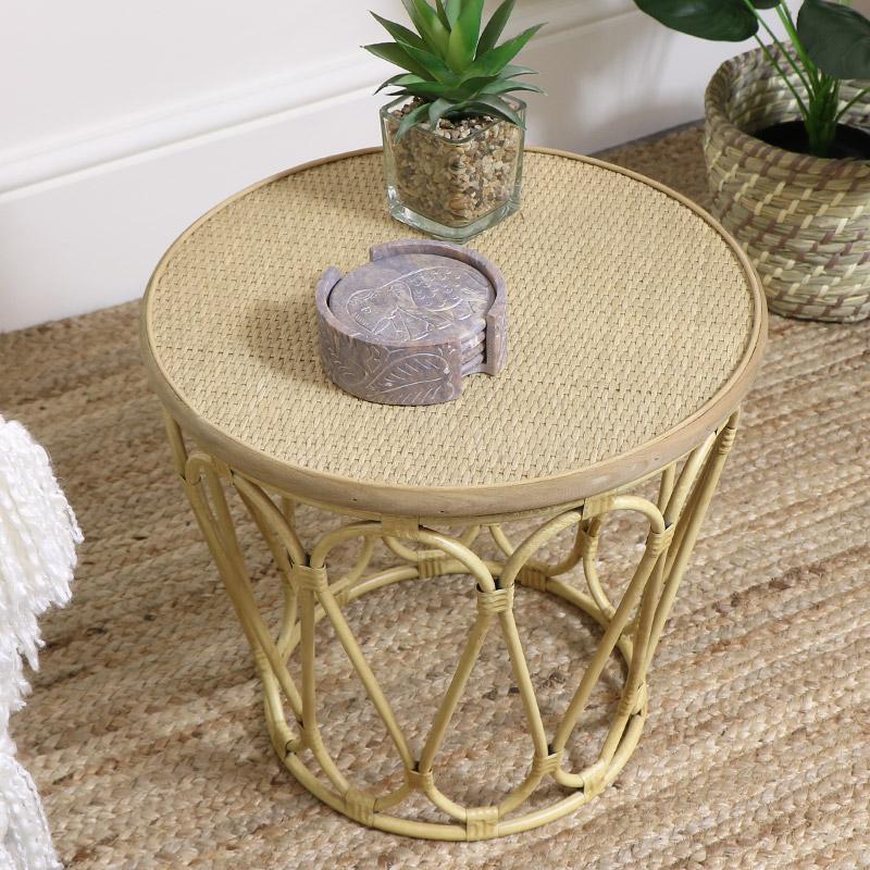 Small Boho Cane Coffee / Side Table