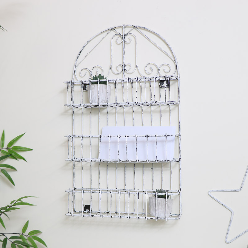 White Ornate Wall Shelf Unit