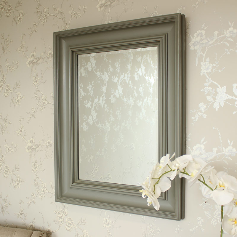 Large Grey Wall Mounted Mirror 76cm x 97cm