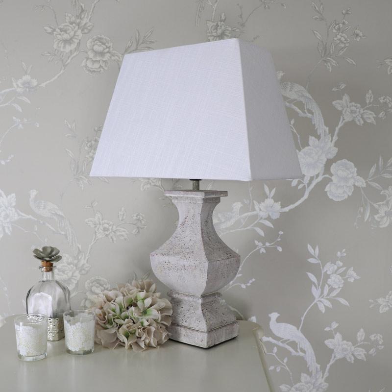 Square White Table Lamp