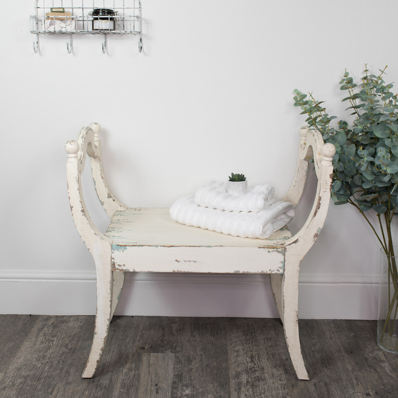 White Distressed Vintage Wooden Stool