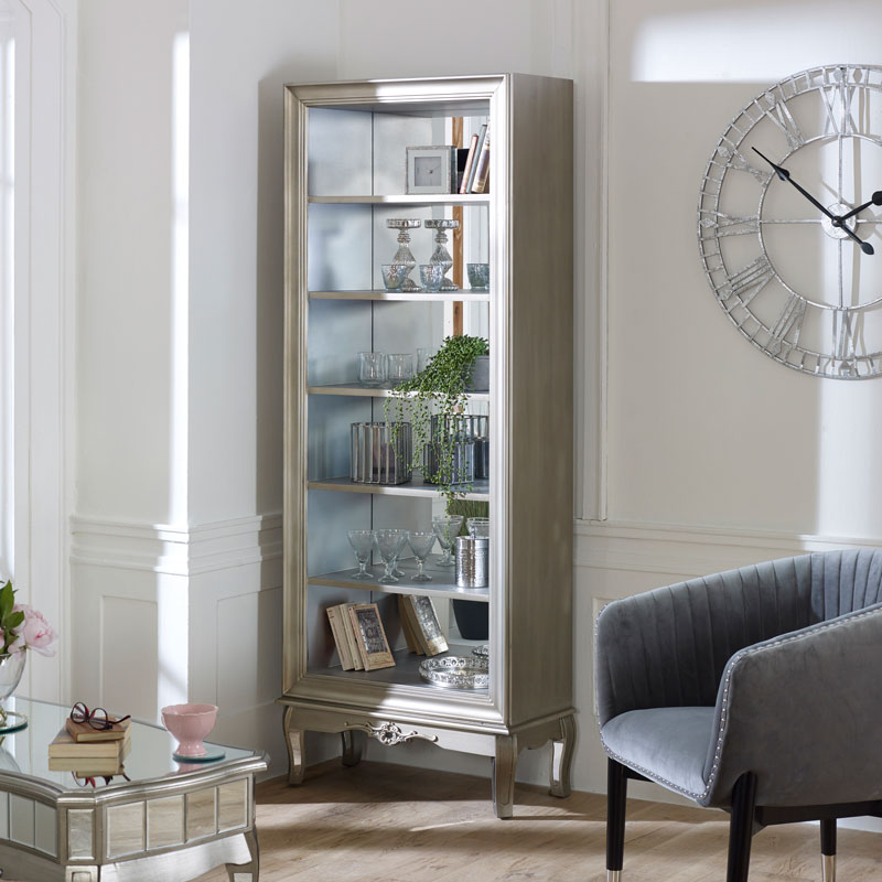 Large Antique Silver Mirrored Bookcase - Tiffany Range