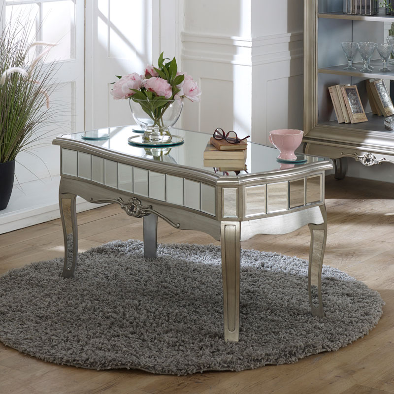Antique Silver Mirrored Coffee Table - Tiffany Range