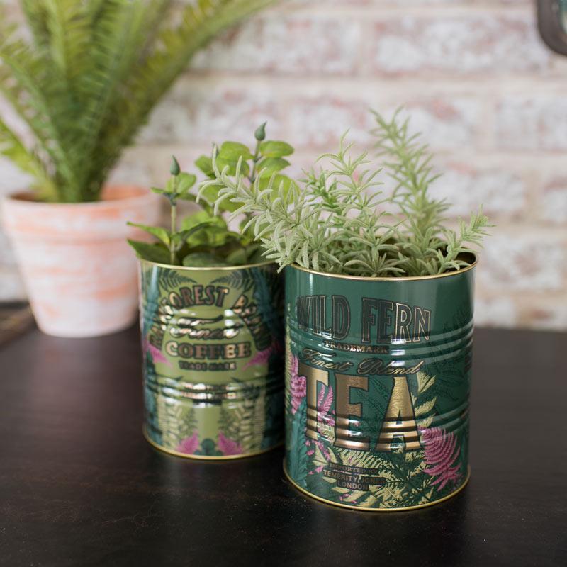 Set of 2 Green Fern Storage Tins