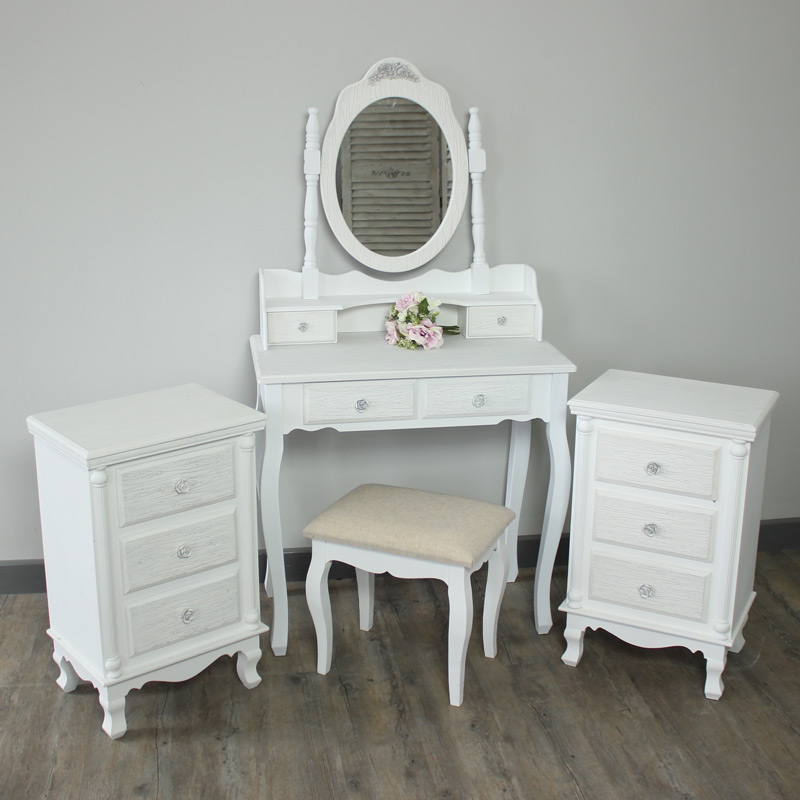 new style 58e97 7fc1f Flora Furniture Lila Range -Bedroom Set, Dressing Table, Mirror, Stool & 2  Bedside Tables