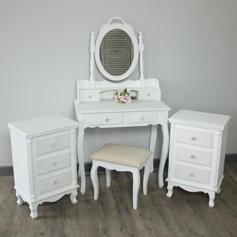 new style f16df 6226c Flora Furniture Lila Range -Bedroom Set, Dressing Table, Mirror, Stool & 2  Bedside Tables