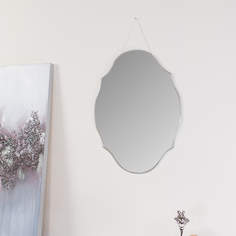 Vintage Frameless Bevelled Wall Mirror 38cm x 50cm