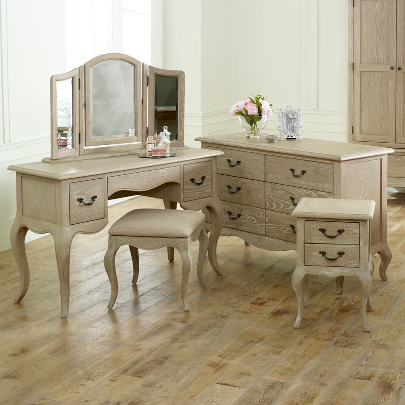 French Bedroom Furniture, Large Chest of Drawers, Dressing Table Set & Pair Bedside Tables - Brigitte Range