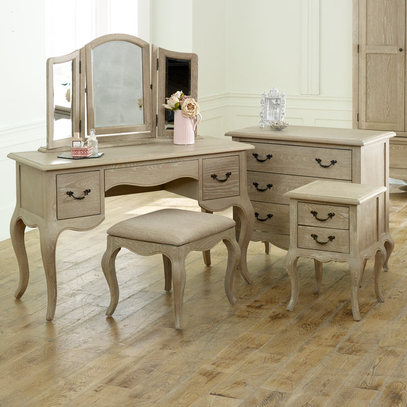 French Bedroom Furniture, Chest of Drawers, Dressing Table Set & Pair Bedside Tables - Brigitte Range