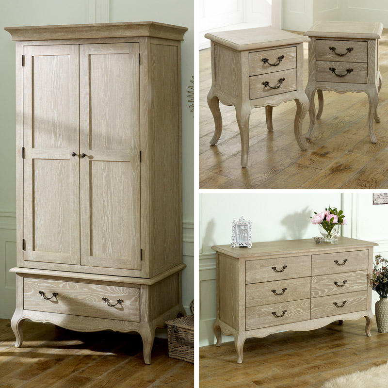French Bedroom Furniture, Wardrobe, Large Chest of Drawers & Pair of Bedside Tables - Brigitte Range