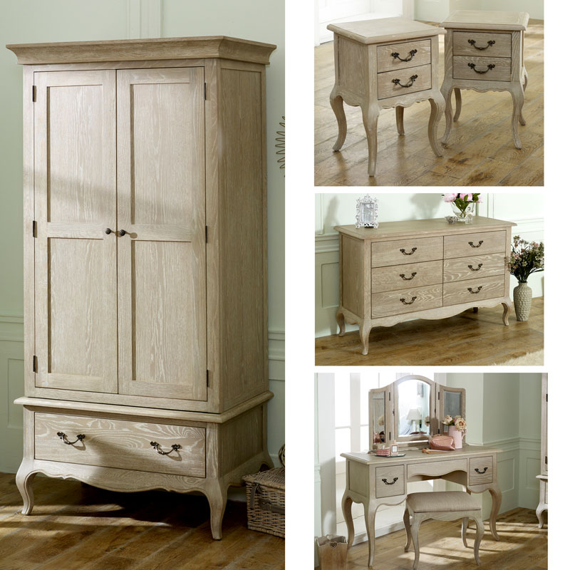 French Style Wardrobe, Large Chest of Drawers, Dressing Table Set & Bedside Tables - Brigitte Range