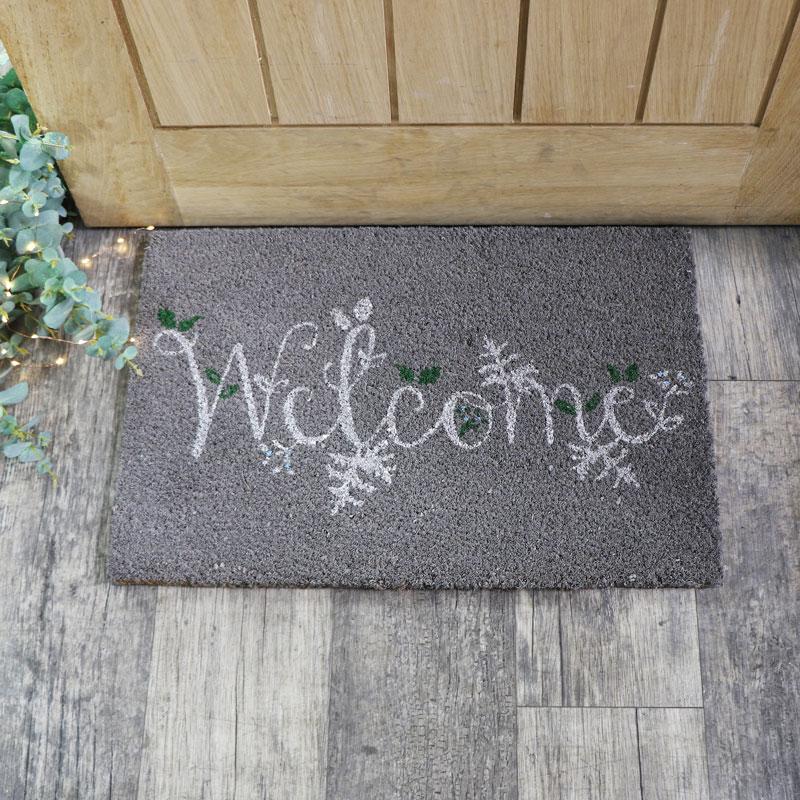 Grey Christmas Welcome Doormat