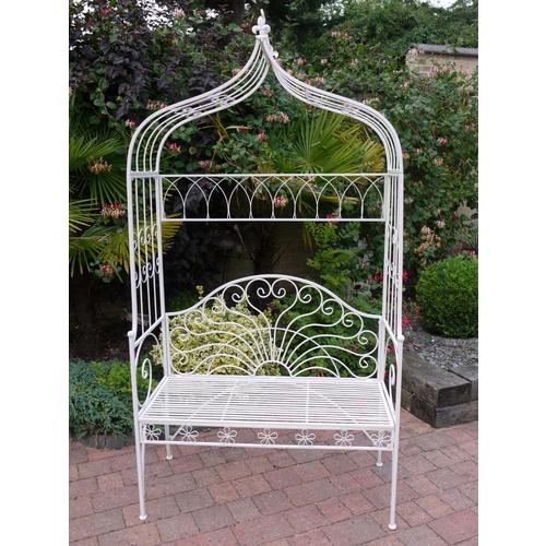 White Pergola Garden Bench