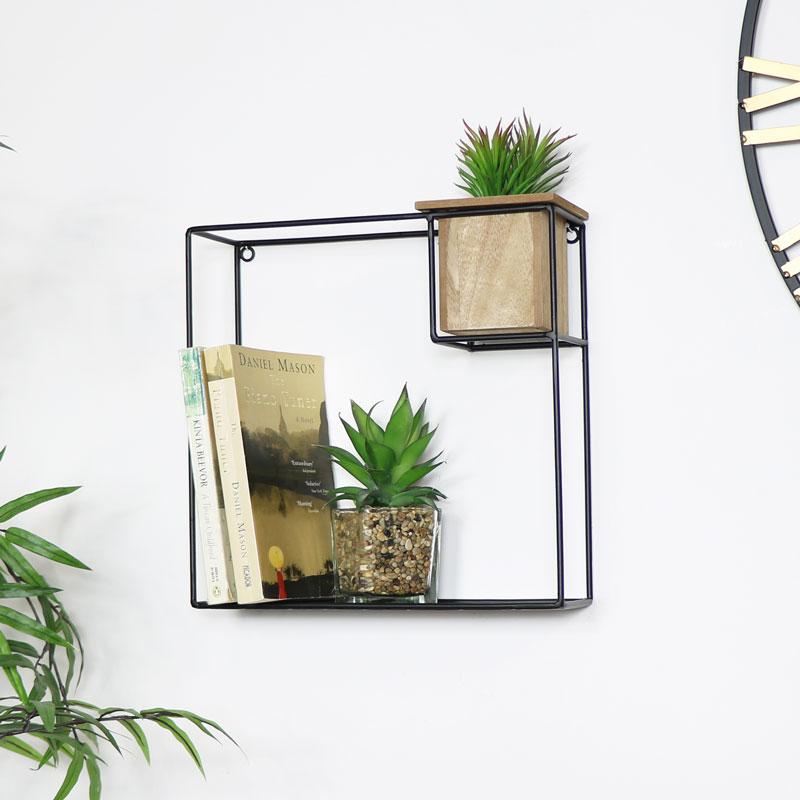 Black Metal Wire & Wood Shelf with Storage Pot