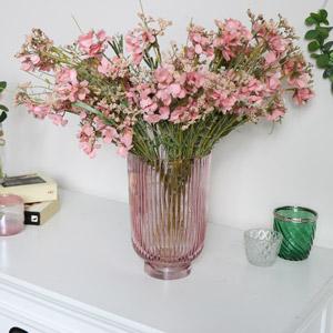 Pink Hurricane Glass Vase
