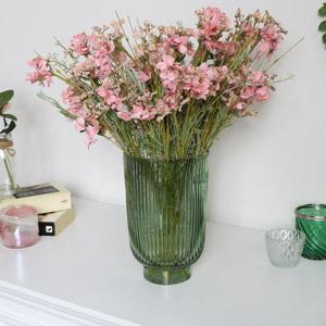 Green Hurricane Glass Vase