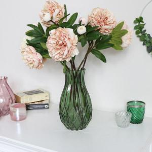 Tall Green Cut Glass Vase